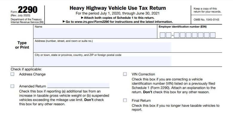 Sample Form 2290 to file truck tax return